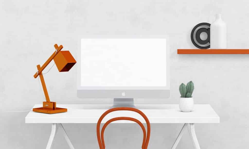 White Desk Orange Lamp Front View  - theglassdesk / Pixabay